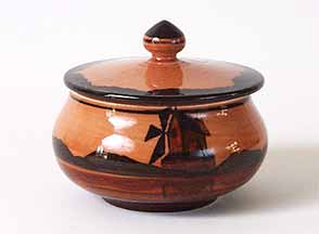 Brown Ault windmill pot with lid