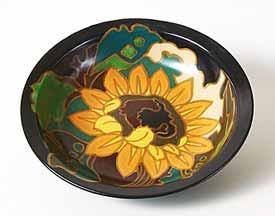 Black Gouda bowl with floral design