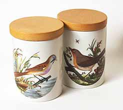 Portmeirion storage jars with bird design