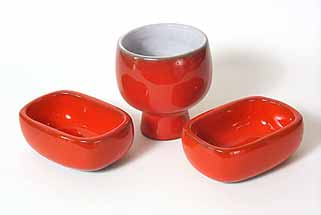 Group of red French Liberty pots