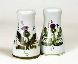 Thistle salt and pepper pots