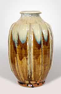 Ash glazed ribbed vase