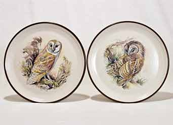 Pair of Purbeck owl plates