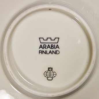 Four Arabia Slotte plates (marks)