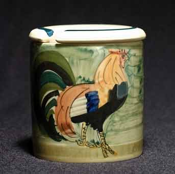 Lidded Oxney Green rooster pot