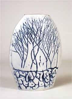 Flat oval vase