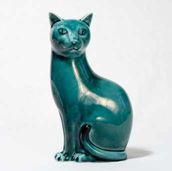 Blue glazed Poole cat