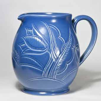 Blue incised Susie Cooper jug